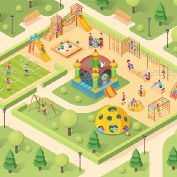Isometric Playground with Children or Kids