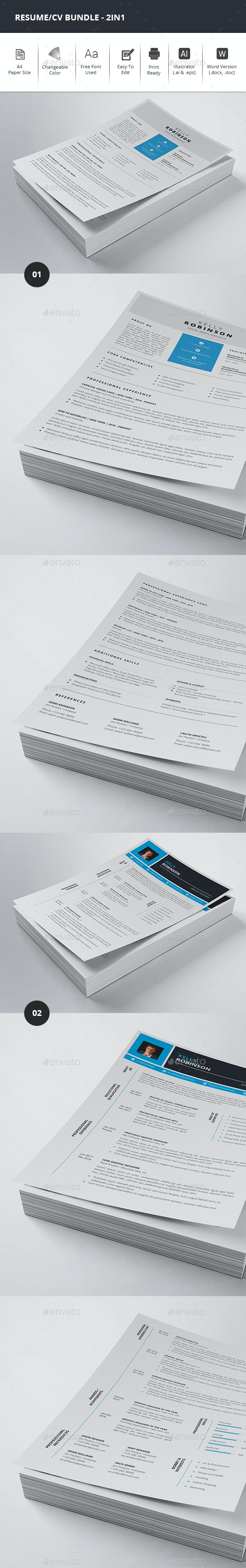 Resume/CV Bundle - 2in1 - Resumes Stationery