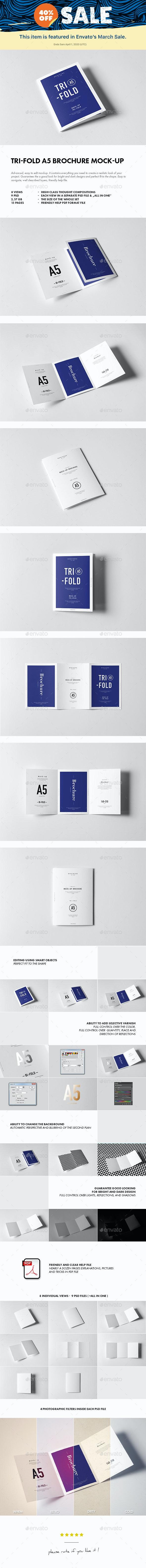 Tri-Fold A5 Brochure Mock-up - Brochures Print