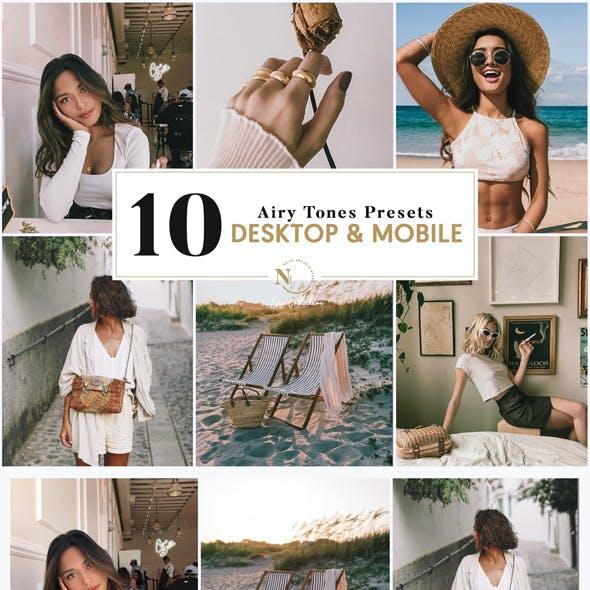 10 Lightroom Presets   Desktop & Mobile   Isis Airy Tones Collection