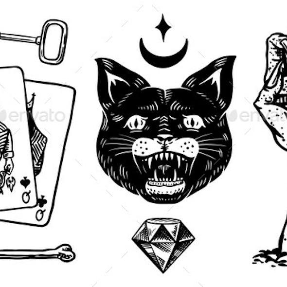 Mystical Boho Elements. Witchcraft Astrological