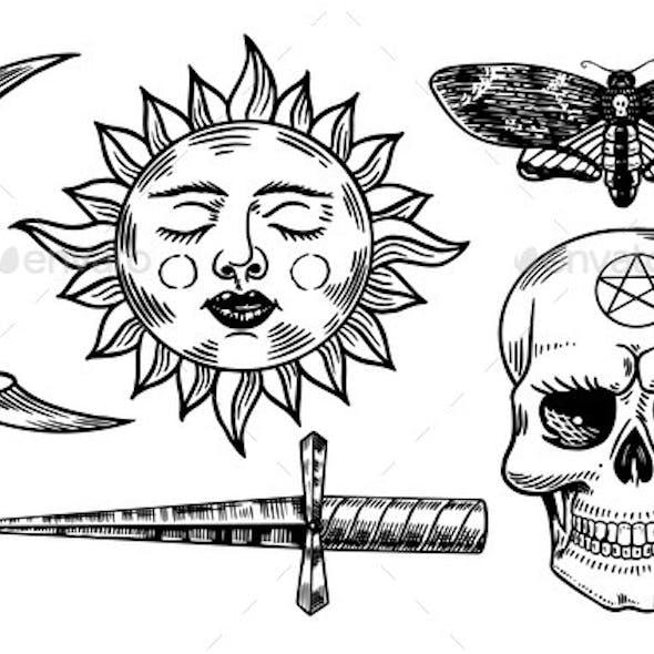 Mystical Magic Boho Elements. Witchcraft