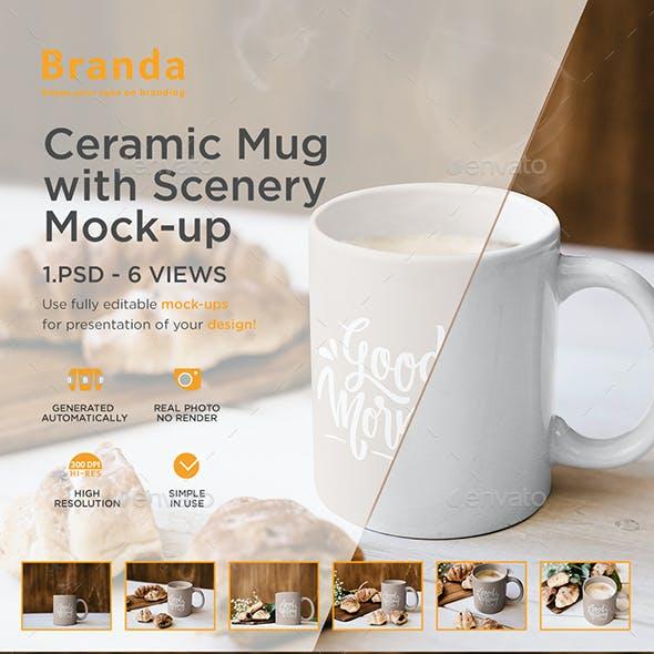 Ceramic Mug with Scenery Mock-up