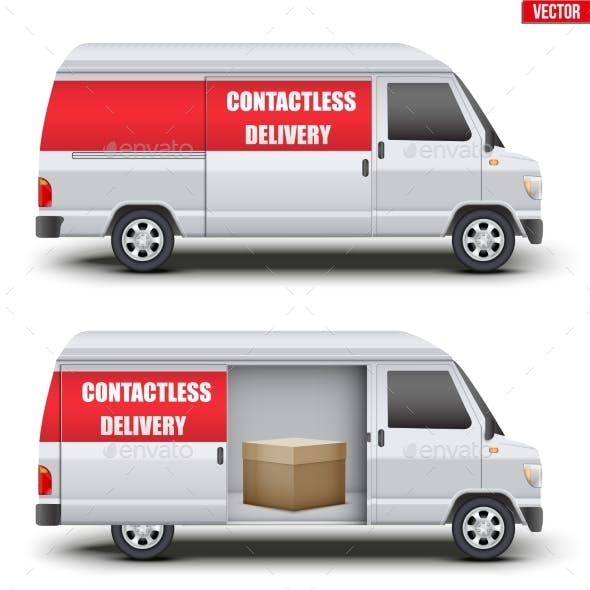 Contactless Delivery Van with Parcel