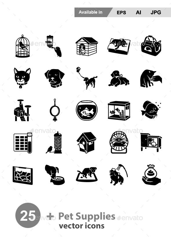 Pet Supplies Vector Icons - Animals Characters