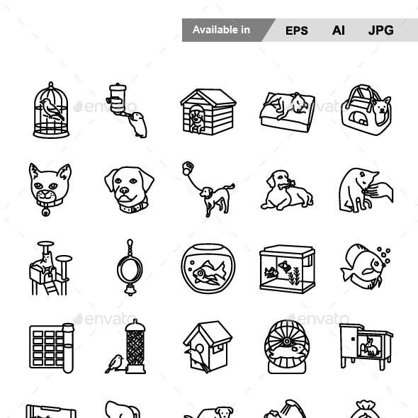 Pet Supplies Outlines Vector Icons
