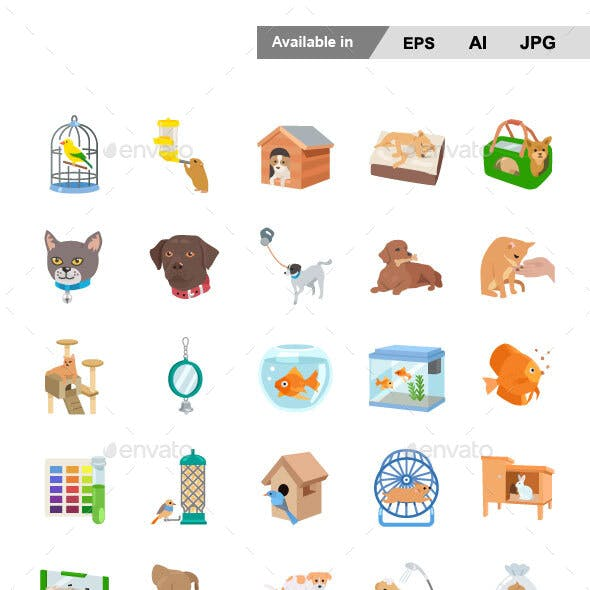 Pet Supplies Color Vector Icons