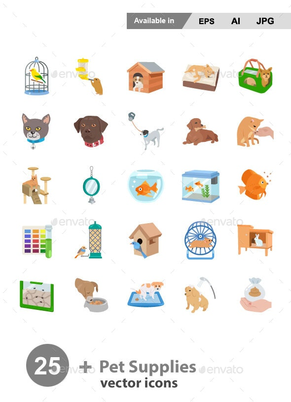 Pet Supplies Color Vector Icons - Animals Characters