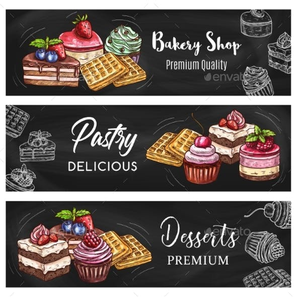 Pastry Dessert and Cake Blackboard Banners