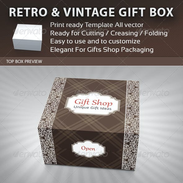 Retro and Vintage Gift Box Package Template
