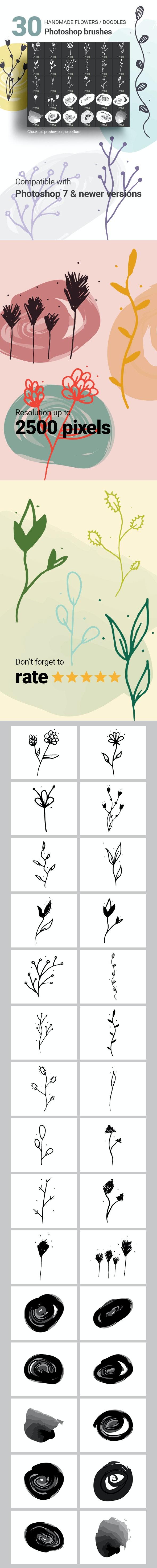 30 Hand-drawn Flowers Vector Doodles Photoshop Brushes - Brushes Photoshop