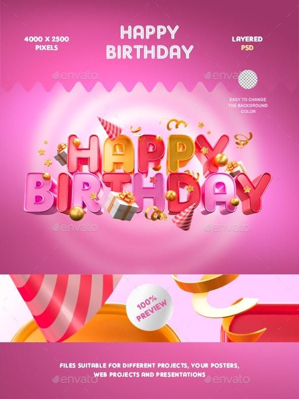 Happy Birthday - 3D Backgrounds