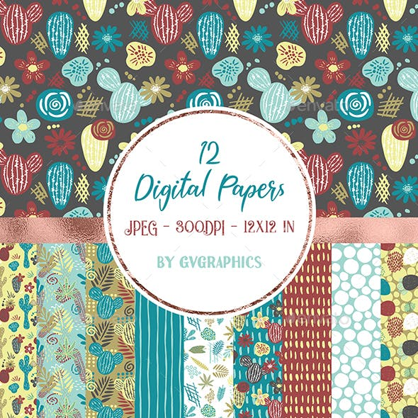 12 Cartoon Cacti and leaves Digital Papers in blue, red and white