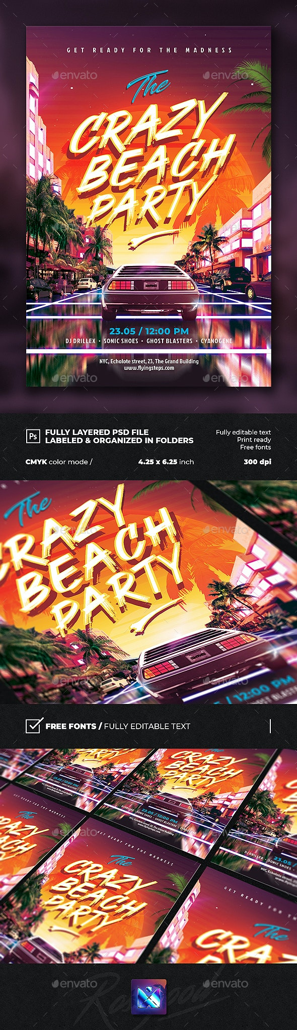 Party Flyer Crazy Beach - Clubs & Parties Events