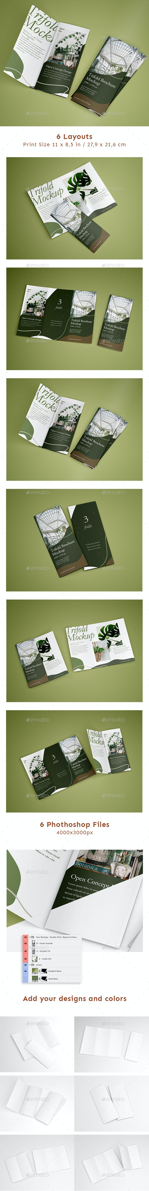 Open Trifold Mockup - Brochures Print