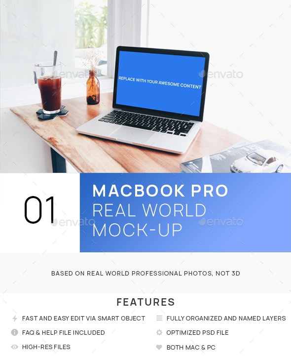 MacBook Bright Interior Real World Mock-up - Laptop Displays