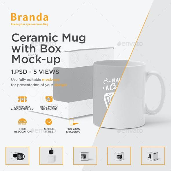 Ceramic Mug with Box Mock-up