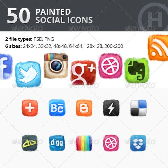 50 Painted Social Icons