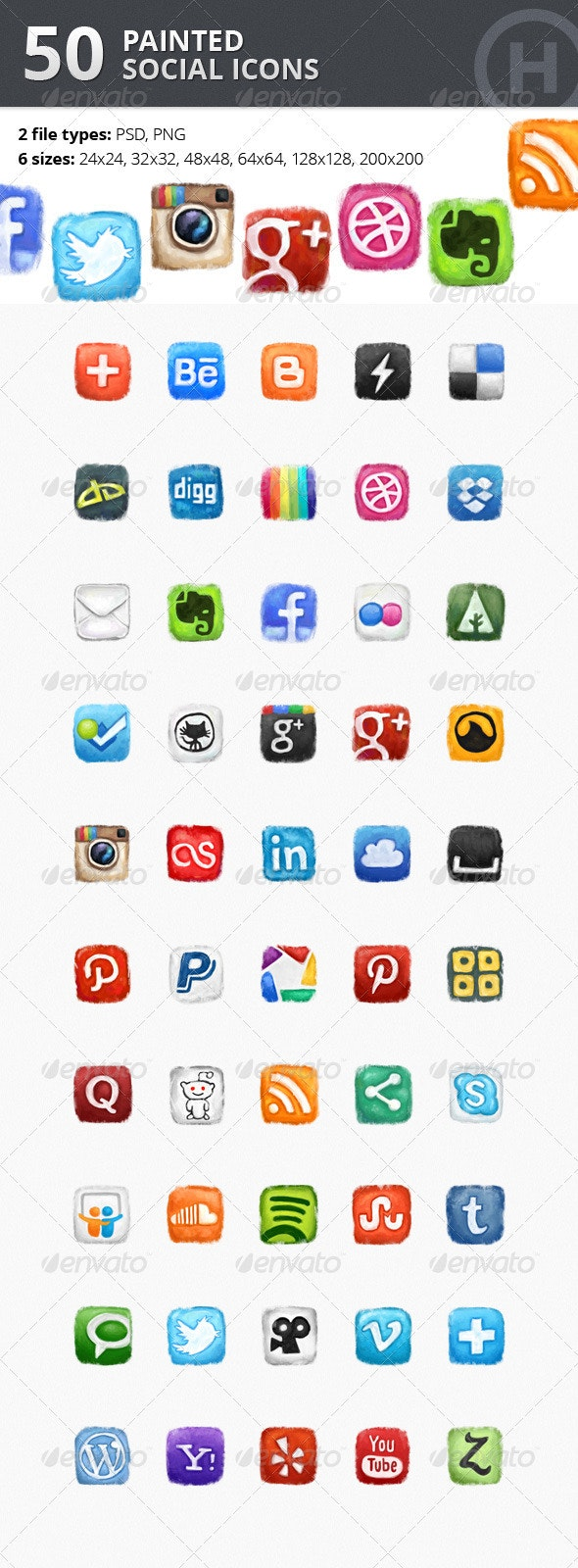 50 Painted Social Icons - Web Icons