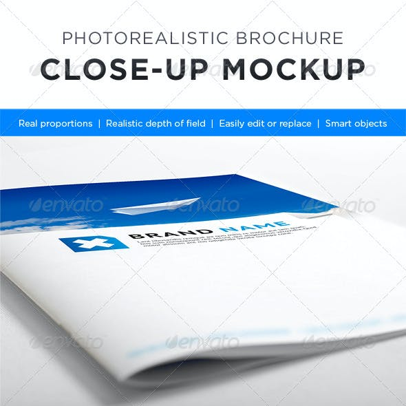 Photorealistic Brochure Close-up Mock-up