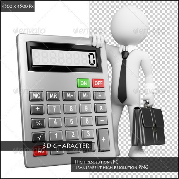 Businessman with Calculator - Characters 3D Renders