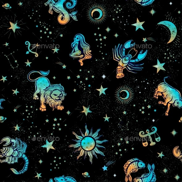 Space Galaxy Constellation Seamless Pattern Print - Backgrounds Decorative