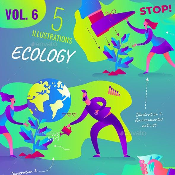Set of Vector Environmental Illustrations