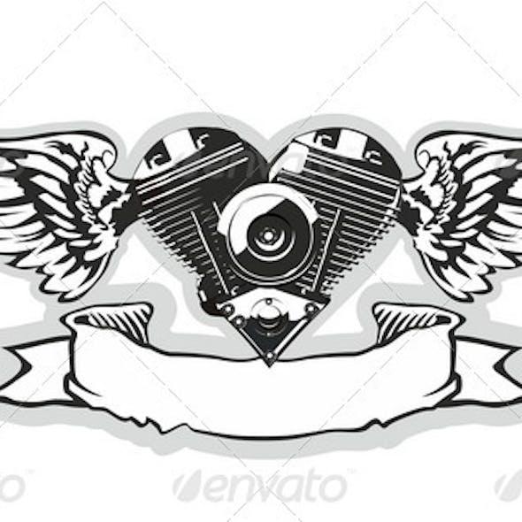 Winged Motorbike Symbol