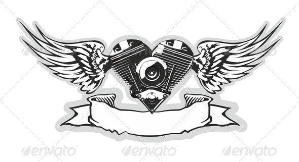 Winged Motorbike Symbol - Tattoos Vectors