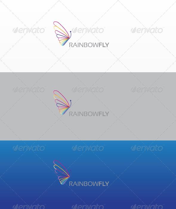 Rainbow Fly - Animals Logo Templates