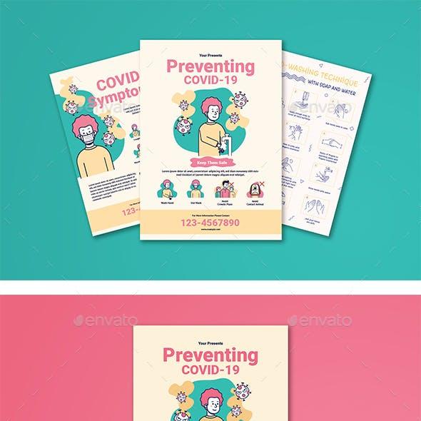 Preventing Corona, Symptoms Covid-19 & Wash Hand Technique Flyer