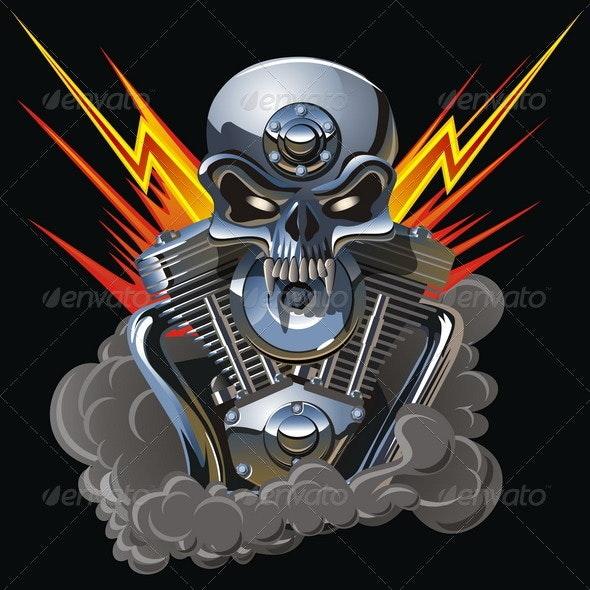 Vector Metall Skull with Engine - Decorative Symbols Decorative