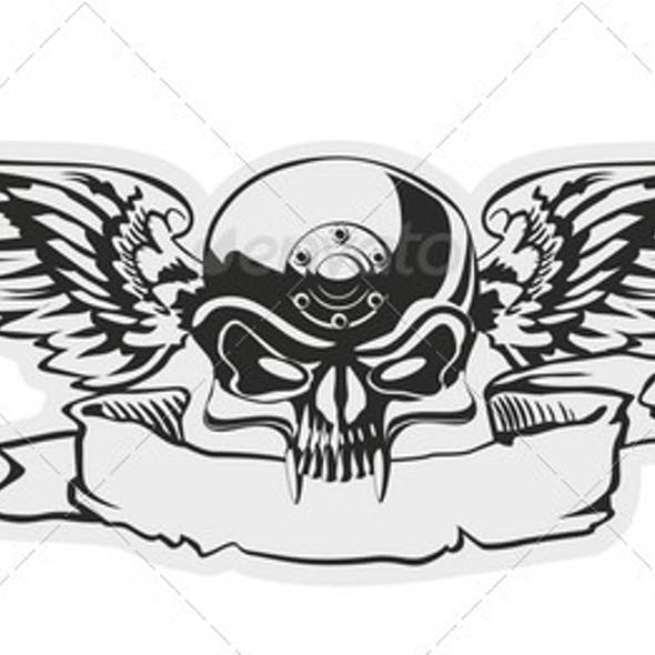 Vector Skull with Wings at Gray Basis