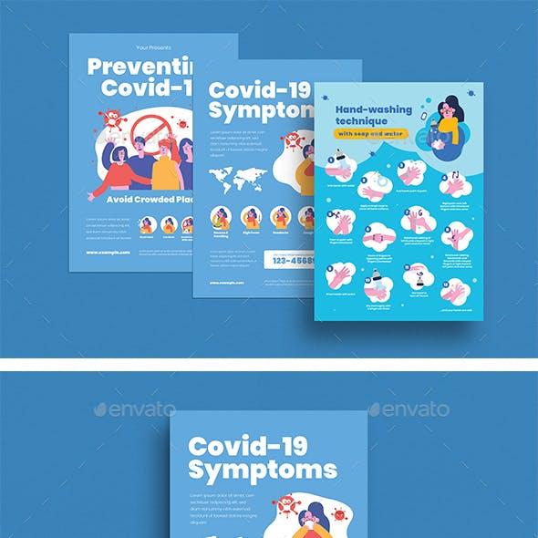 Preventing Corona Virus, Symptoms Covid-19 & Wash Hand Technique Flyer