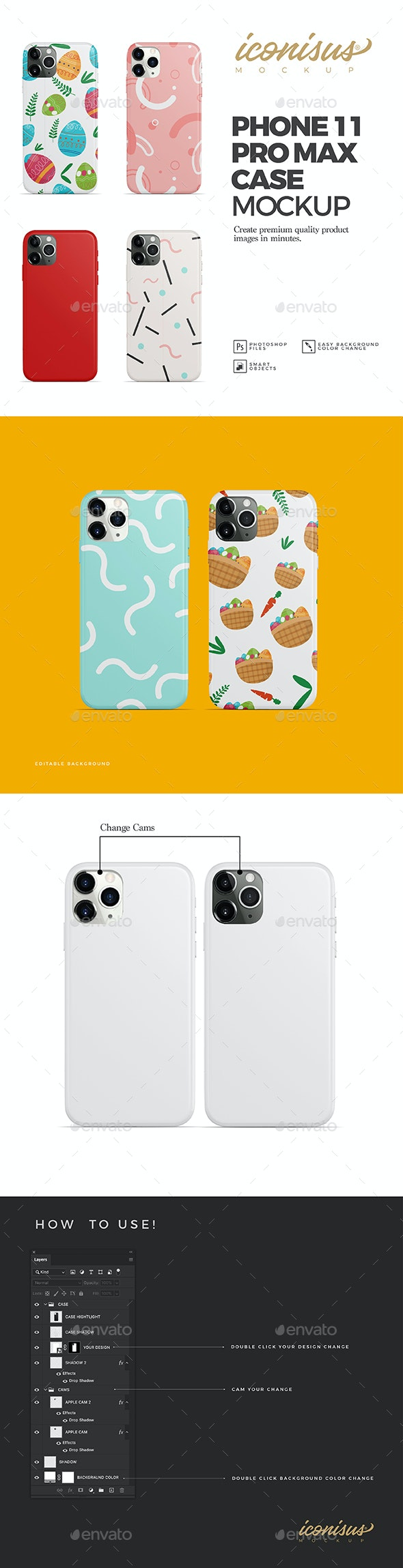Phone 11 Pro Max Case Mockup Template - Product Mock-Ups Graphics