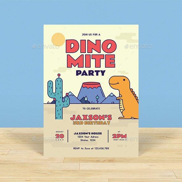 Dino Theme Kids Birthday Invitation