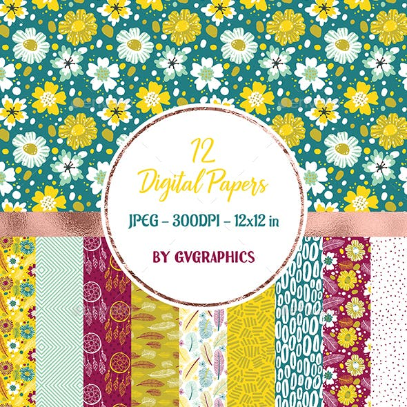 12 Vibrant Flowers, feather and dreamcatchers Digital Papers in yellow, white and red