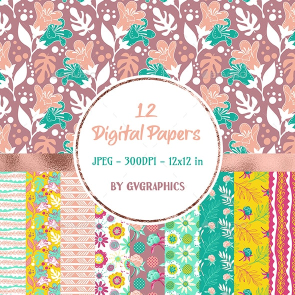 12 Hand drawn Flowers Digital Papers in yellow, pink and mint - Nature Backgrounds