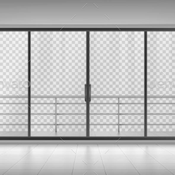 Glass Window Door with Balcony Railings Mock Up
