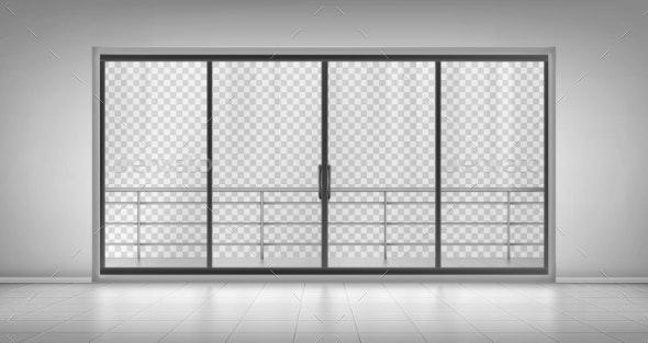 Glass Window Door with Balcony Railings Mock Up - Buildings Objects
