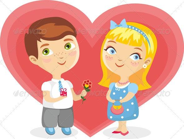 Girl Boy Heart Isolated - People Characters