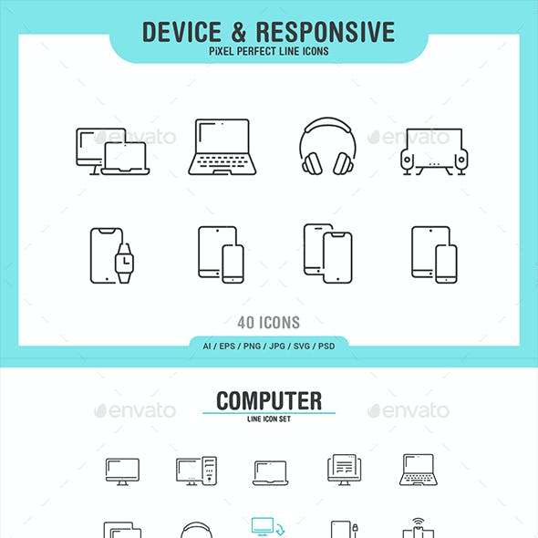 40 Device & Responsive Thin Line Icons