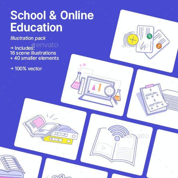 School & Online Education Illustrations