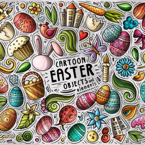 Vector Set of Easter Theme Items