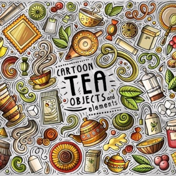 Vector Set of Tea Theme Items
