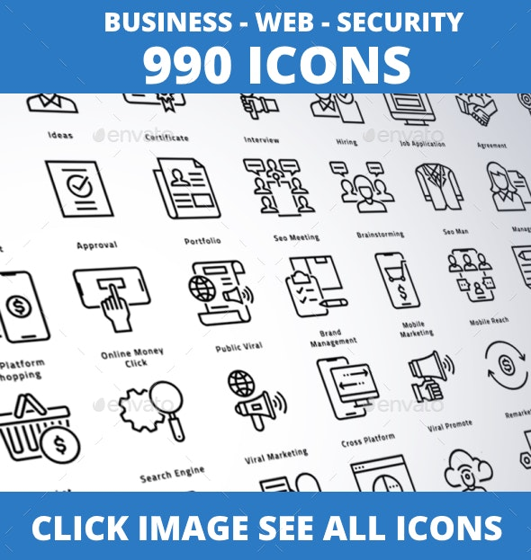 990 Business - Web - Security Line Icons - Icons
