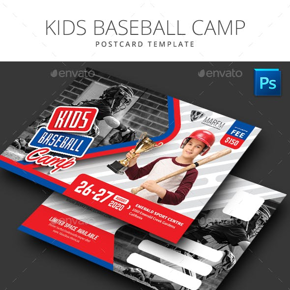 Baseball Kids Camp Postcard