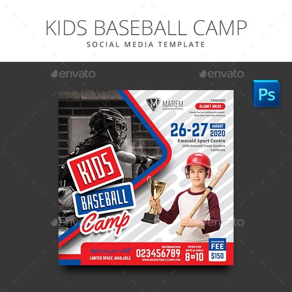 Baseball Kids Camp Social Media Template