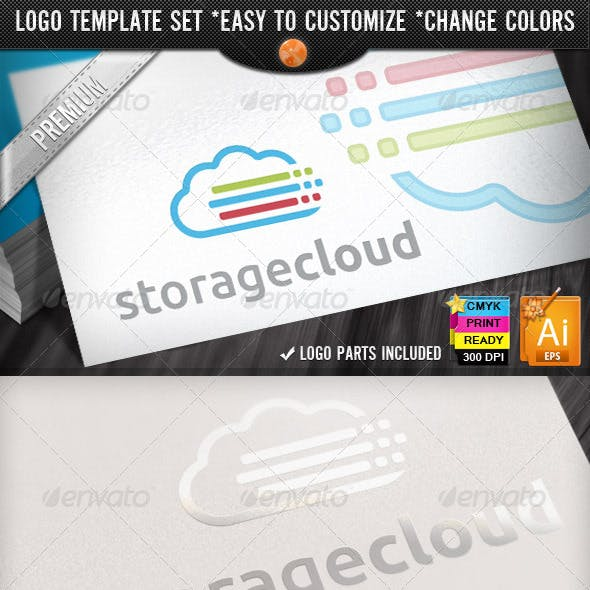 Lines Pixel Color Data Storage Cloud Logo Designs