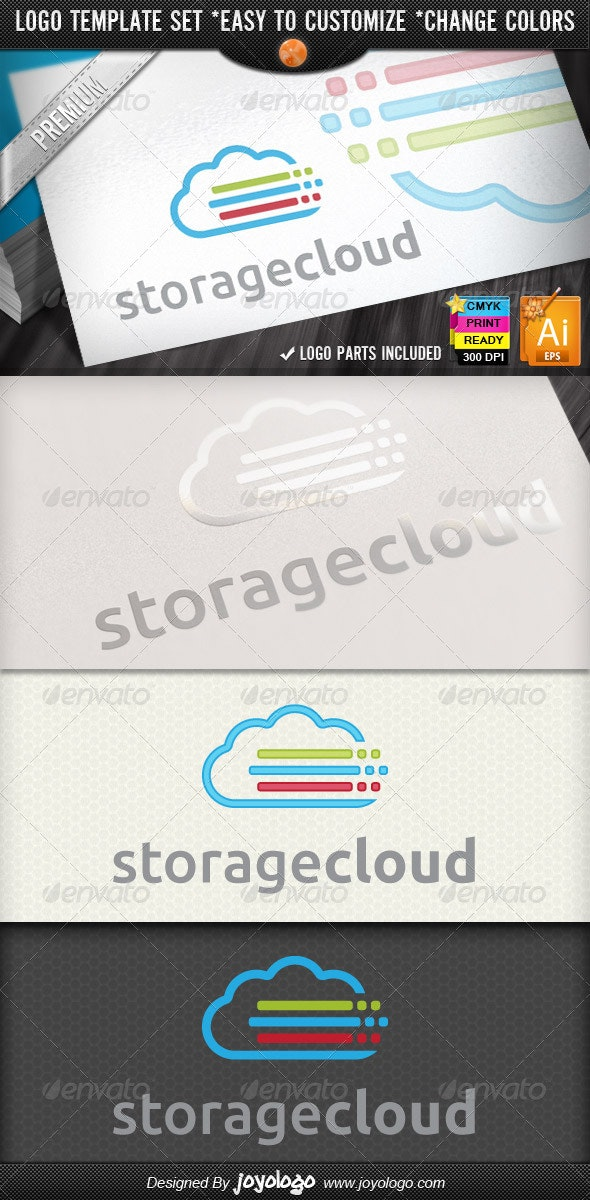 Lines Pixel Color Data Storage Cloud Logo Designs - Symbols Logo Templates